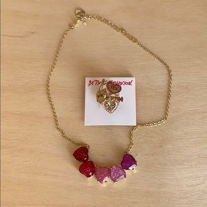 Ring and necklace heart set Betsy Johnson